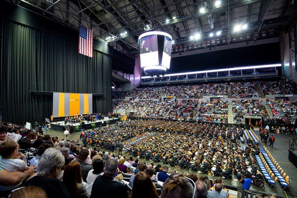 Packed stadium for the 2018 Commencement Ceremony