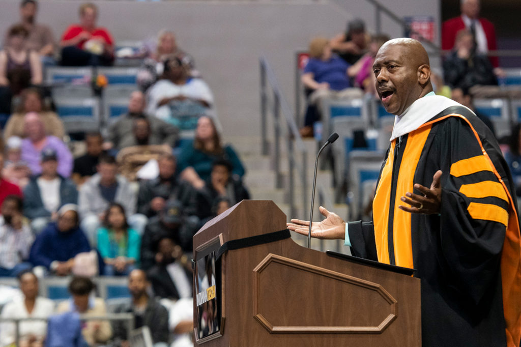 2018 Commencement speaker Rev. Charles Harrison addressing the students during the commencement
