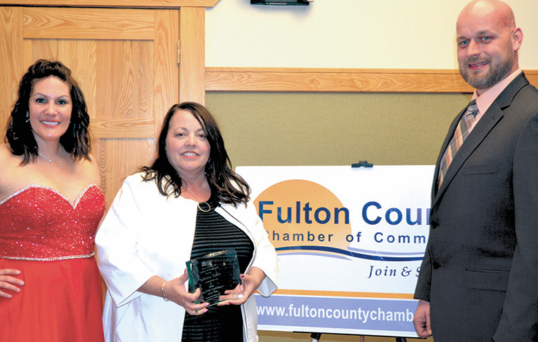Jeri Burkhart receiving Non-Profit Organization of the Year award from Fulton County Chamber of Commerce