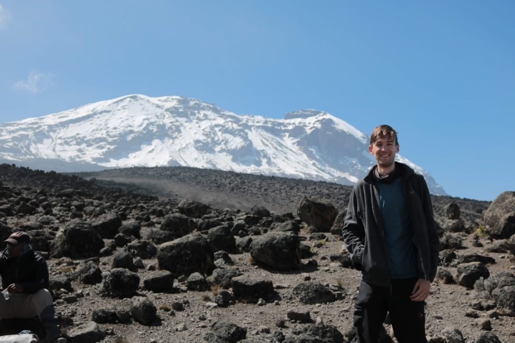 Joel in the alpine semi-desert of Kilimanjaro