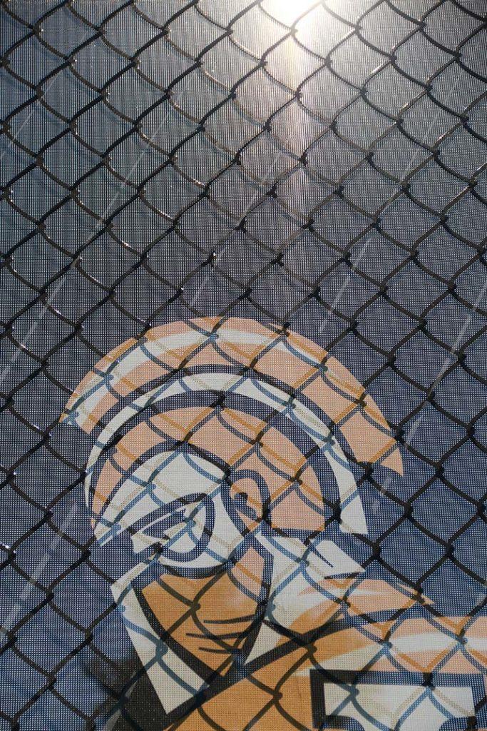 Warrior Logo on baseball field fence