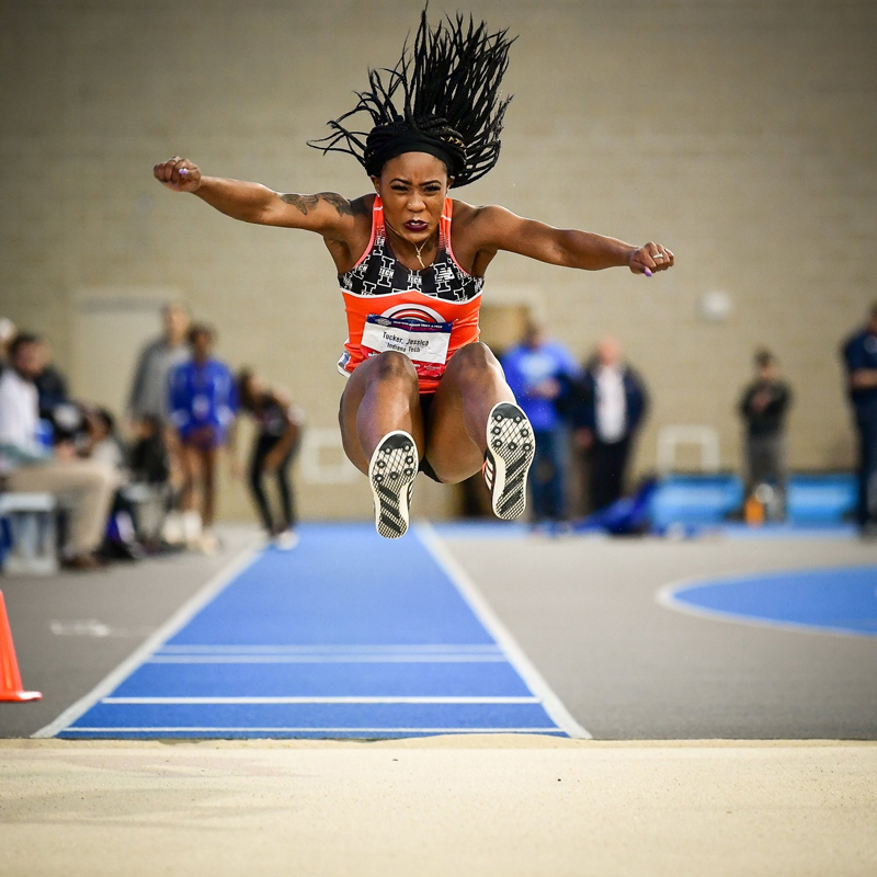 Sophomore Jessica Tucker competes during the 2018-19 NAIA Indoor Track & Field National Championships.