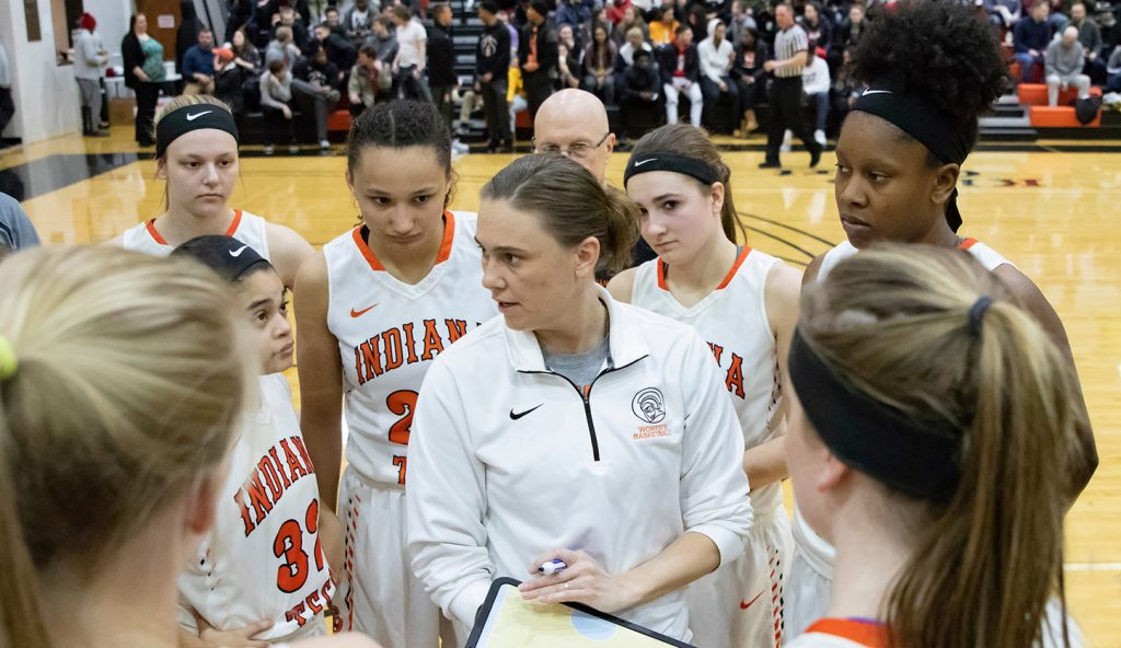 Indiana Tech women's basketball coach Jessie Biggs coaching.
