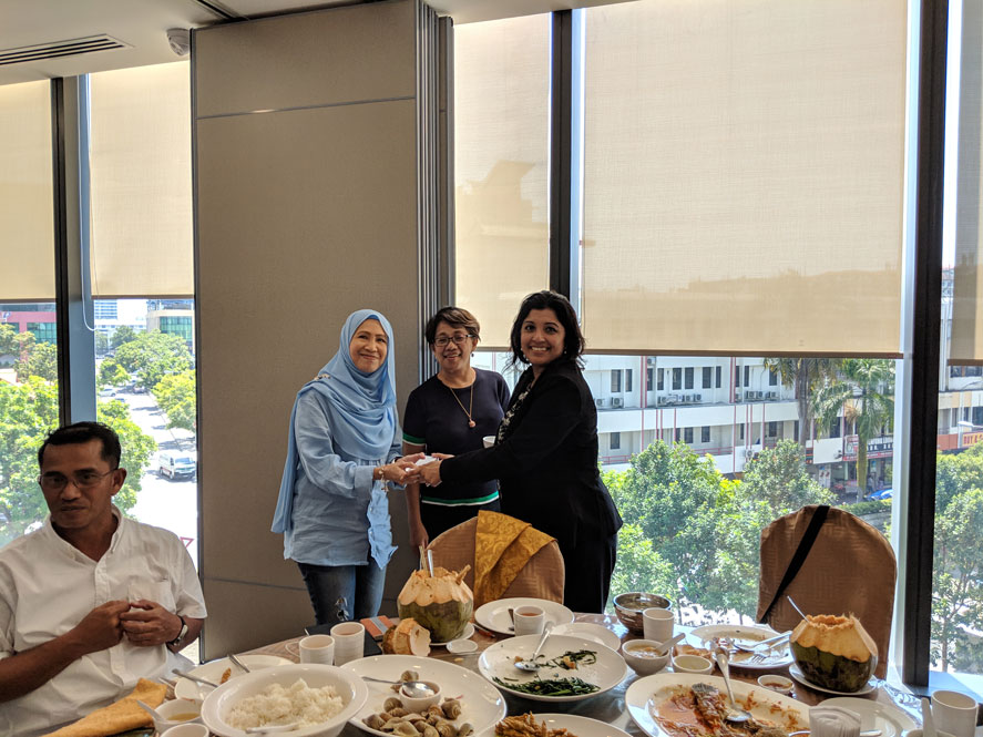 Sharmila Chowdhury, Director of International Admissions speaking directly to former Indiana Tech Graduate Alumni from Malaysia at a special impromptu lunch.