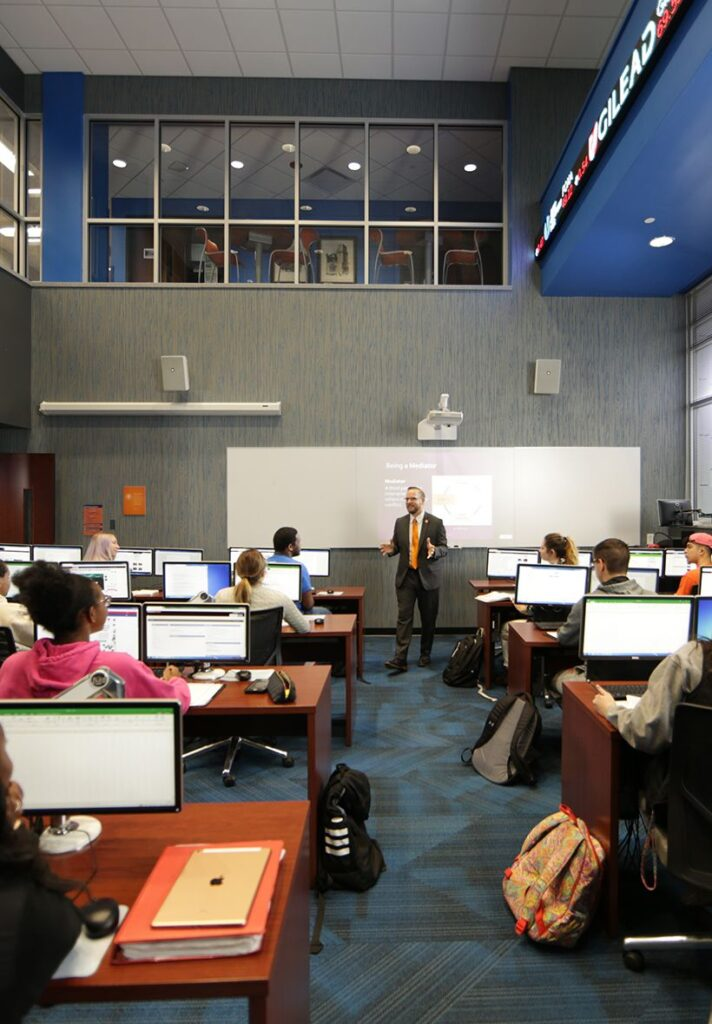 Dr. Scott Liebhauser leading a class in the Star Financial Center